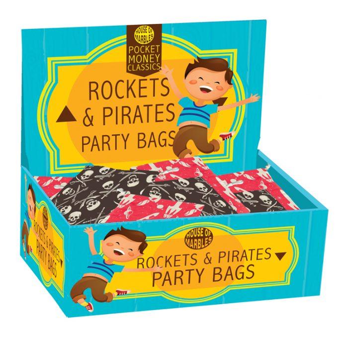 Partybeutel aus Baumwolle Raketen und Piraten (80 Stück)
