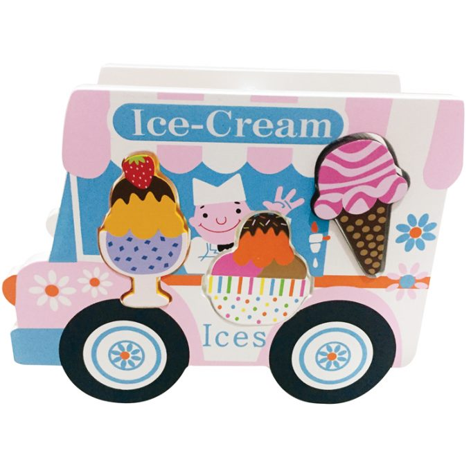 Eiscreme Verkaufswagen aus Holz mit Einsteckteilen (4 Stück)